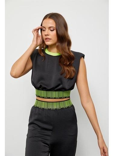 Setre Siyah Vatkalı Beli Lastik Crop Bluz Siyah